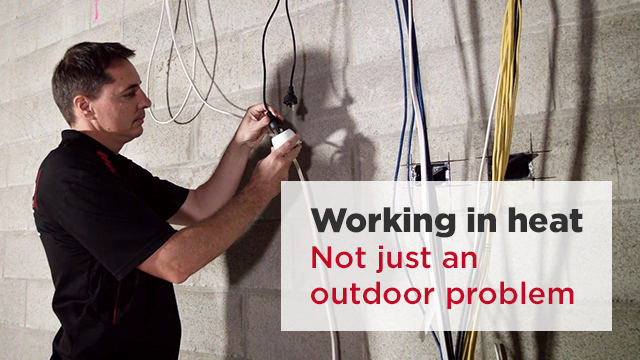 A still frame from the video SWA - Working in heat: Not just an outdoor problem