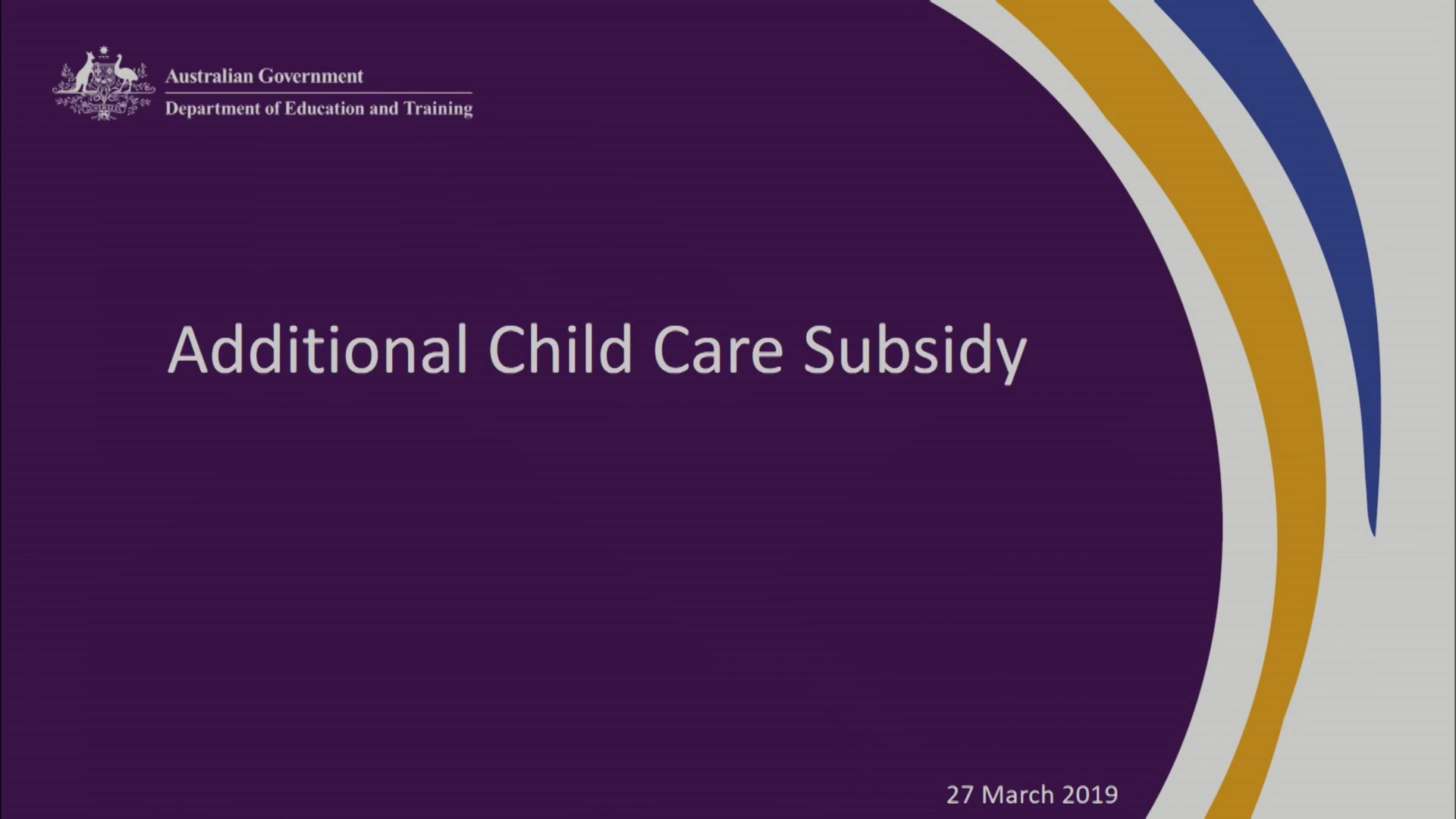 A still frame from the video 19-0447 Child Care 27 March 2019